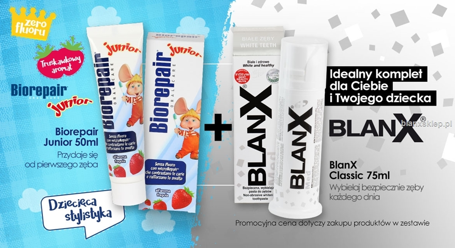 Zestaw Biorepair Junior 50 ml + Blanx Classic 75ml